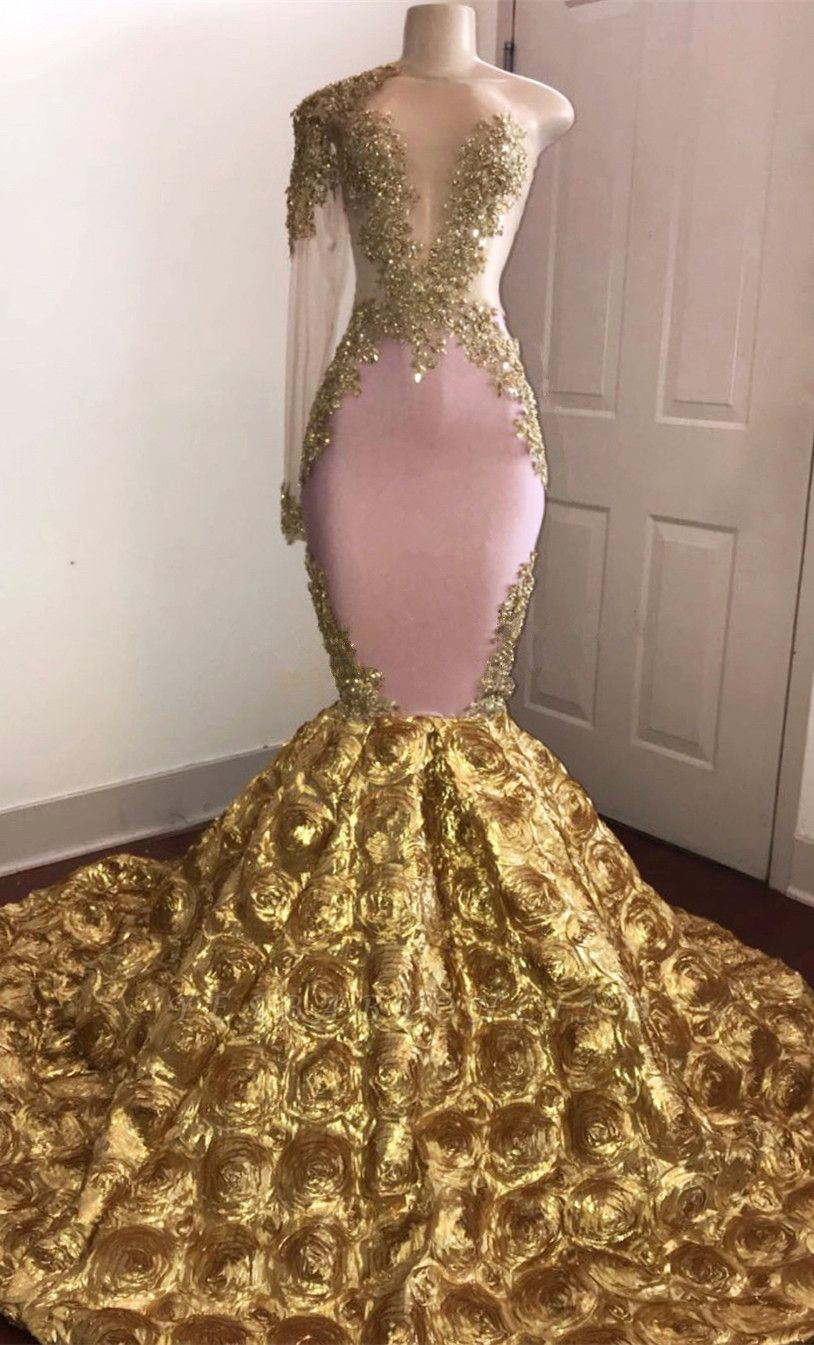 Stunning Gold Floral One Sleeve Mermaid Prom Dresses | African Prom Gowns