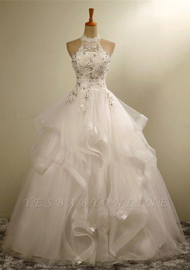 Modern High Neck Beaded Sleeveless  Lace Appliques Wedding Dress