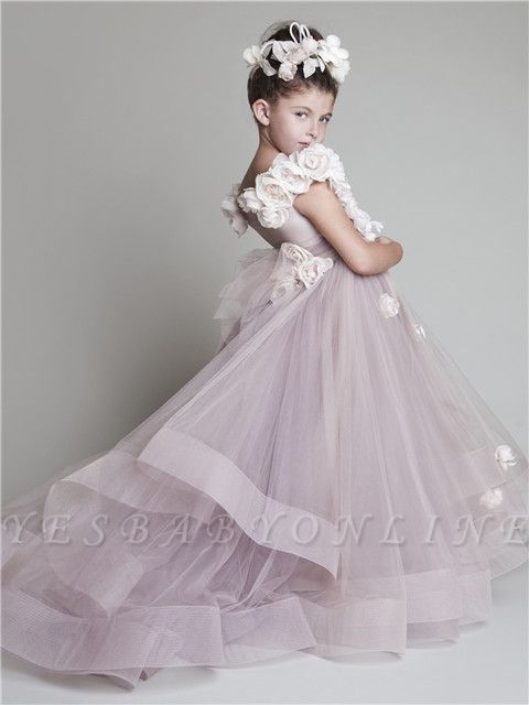Sweep Train Flower Girl Dresses with Flowers | Tiered Draped Lovely Ball Gown Organza Pink Pageant Dress