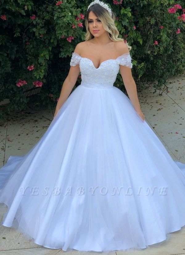 Glamorous Pearls Ball Gown Wedding Dresses | Off-the-Shoulder Bridal Gowns