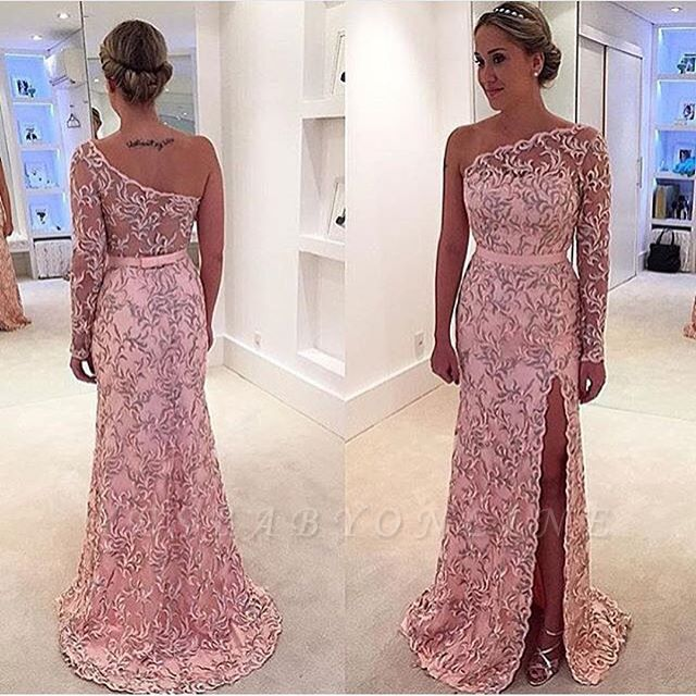 Pattern Long Long-Sleeve Pink One-Shoulder Leaf Prom Dress