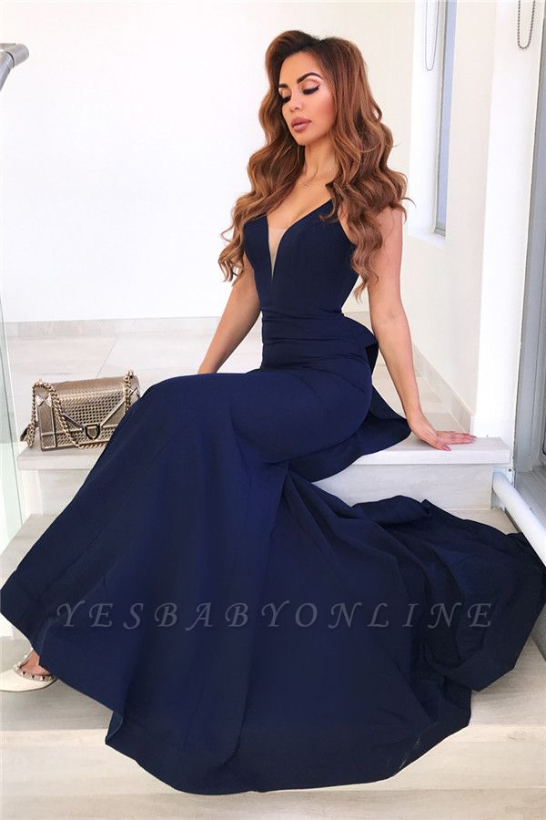 Ruffles Backless Navy Blue Sexy Mermaid Long Prom Dresses