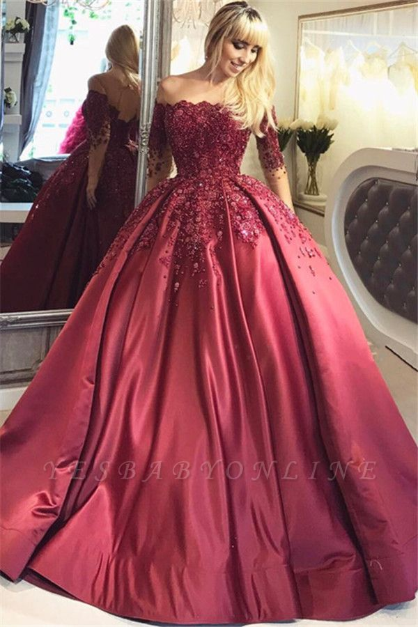Burgundy Off-the-Shoulder Long-Sleeves Appliques Ball Crystal Prom Dresses
