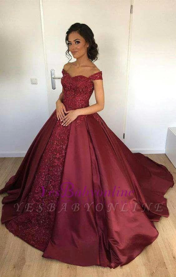 Lace Burgundy Ball-Gown Appliques Off-the-Shoulder Evening Dress