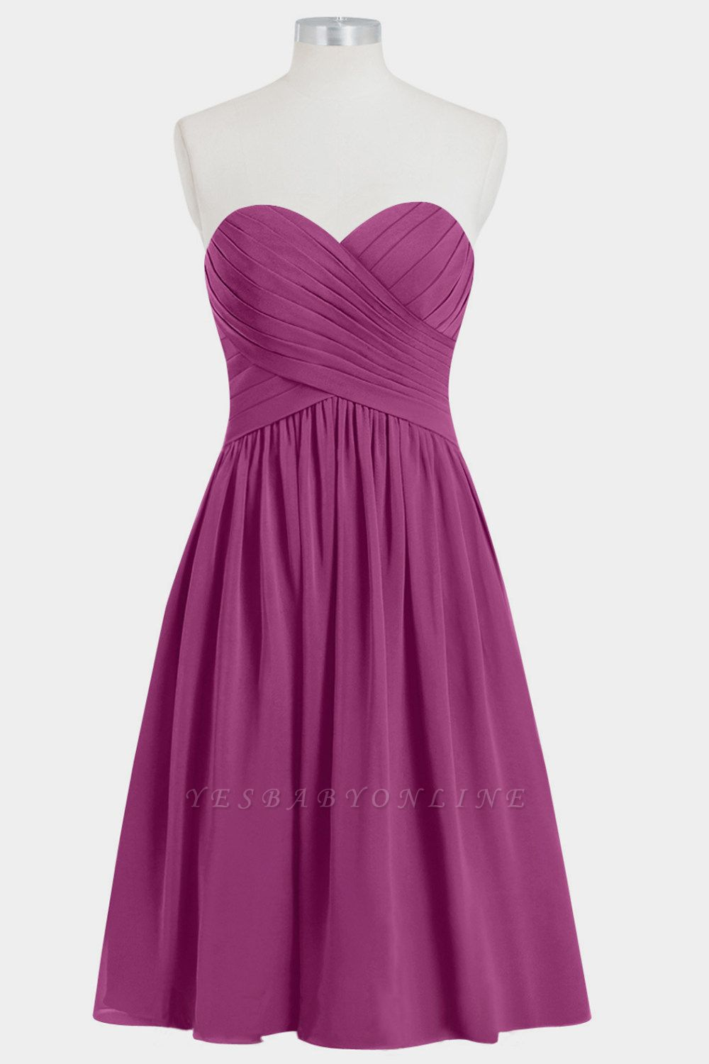A Line Chiffon Strapless Sweetheart Knee Length Bridesmaid Dresses with Ruffles
