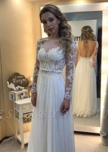 Simple A Line Backless Long Sleevess Floor Length Chic Lace
