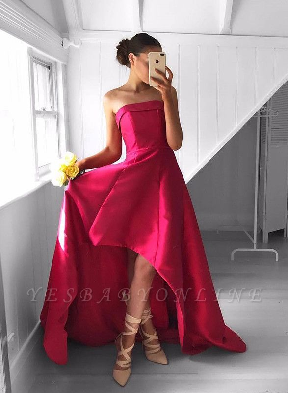 Sleeveless Hi-Lo Red Newest Strapless Sweep-Train Prom Dress
