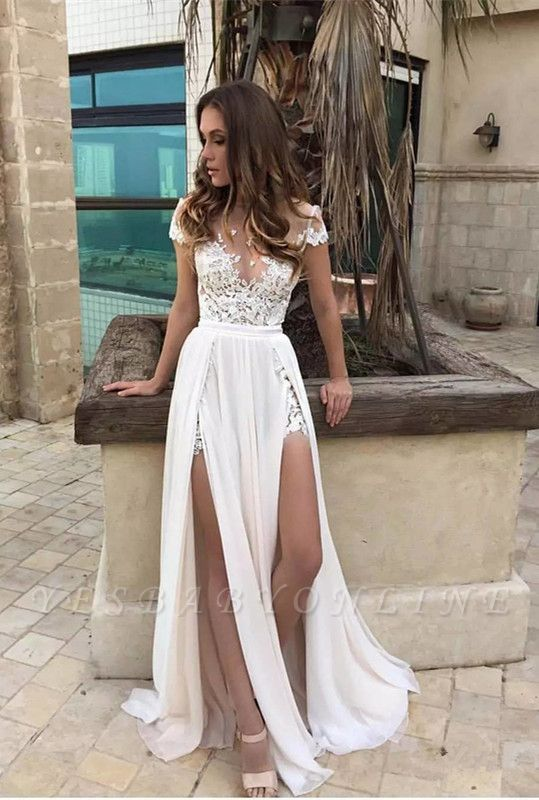 Sexy Side Slits Wedding Dress | Summer Beach Chiffon Bridal Dresses