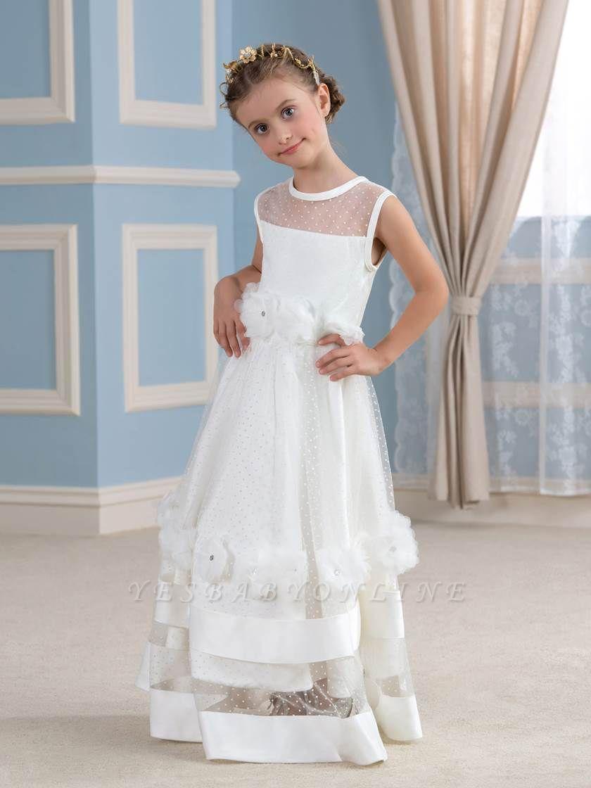 Cute A-Line Tulle Sheer Tulle Scoop Sleeveless Flower Girl Dress