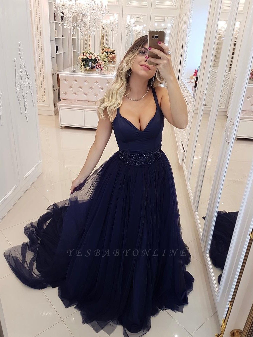 Sexy Spaghetti Straps Evening Dresses   Beaded Tiered  Prom Dresses