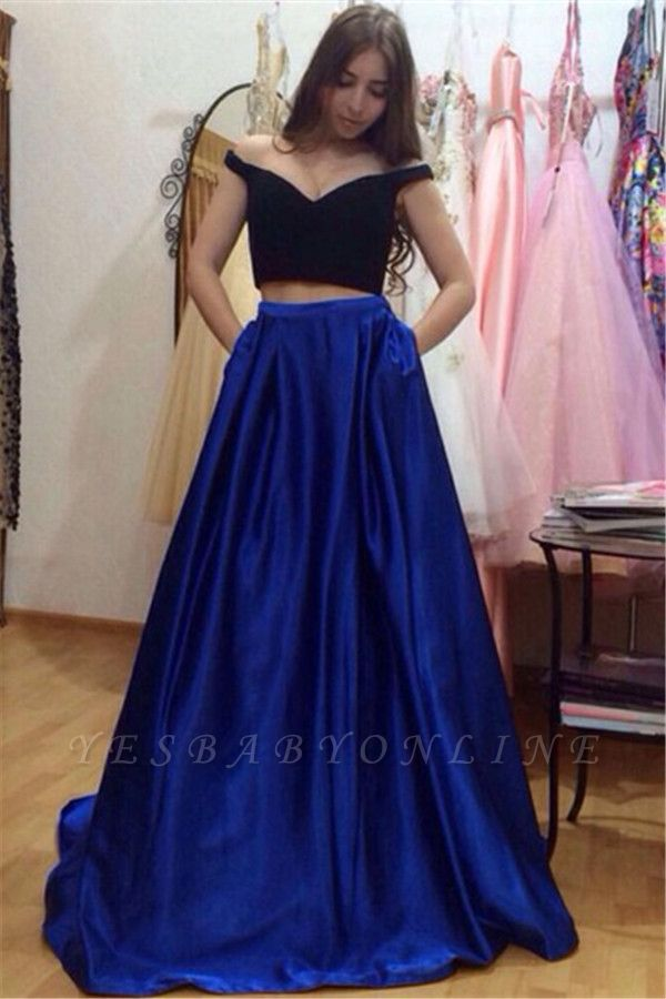 A-Line Two-Pieces Off-the-Shoulder Pockets Glamorous Prom Dresses