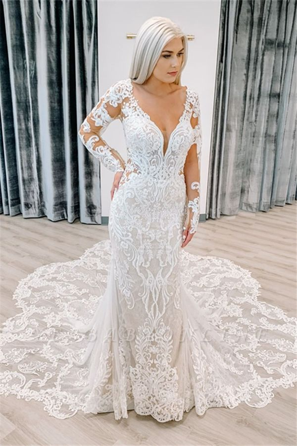 Unique Long Sleeve Plunging V Neckline Lace Mermaid Wedding Dresses