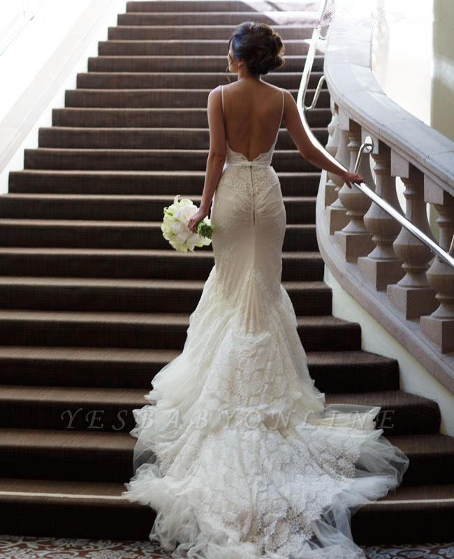 Sweep-Train Tulle Spaghetti-Strap Backless Mermaid Glamorous Wedding Dresses