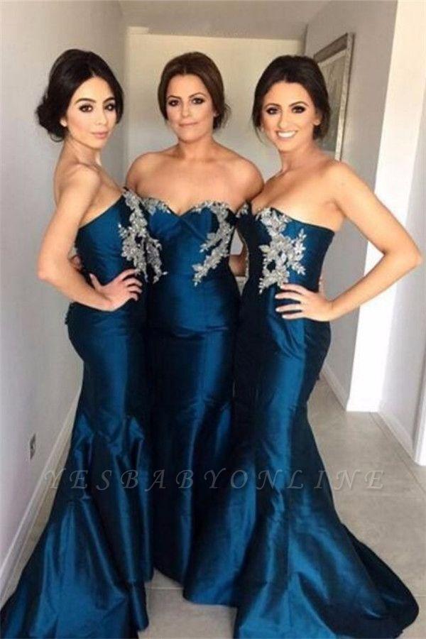 2019 Mermaid Bridesmaid Dresses Simple Sweetheart Appliques Beadings Wedding Guest Dresses