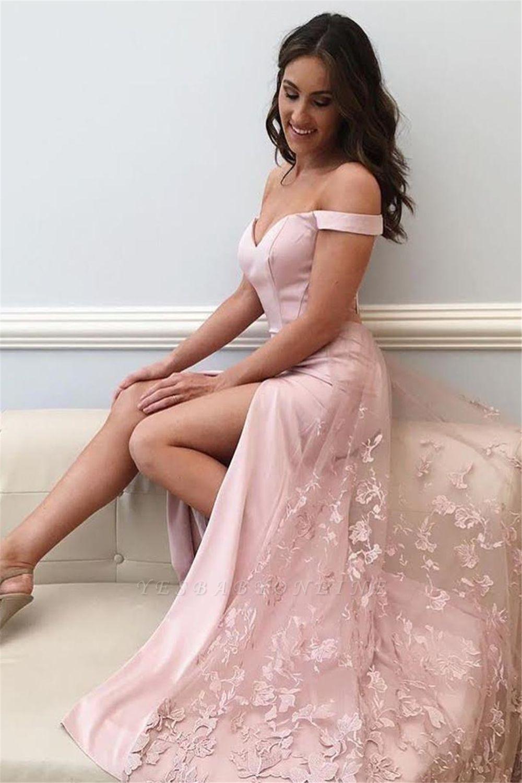 Off-the-shoulder Side Slit Prom Dresses   Pink Lace Appliques Evening Gowns