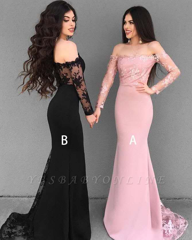 Chic Lace Mermaid Evening Dresses | Off-The-Shoulder Long Sleeves Bridesmaid Dresses