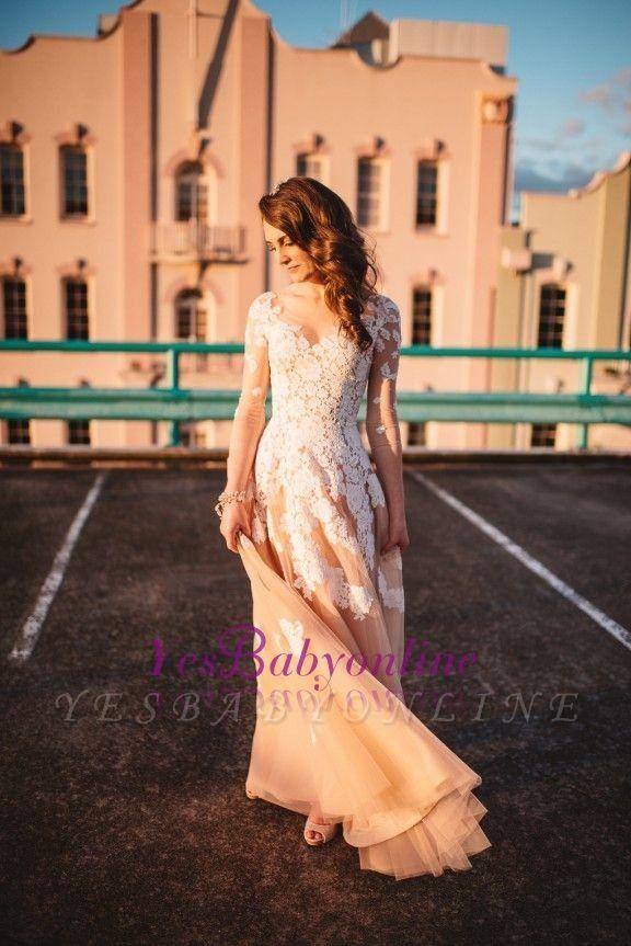 Gorgeous Long-Sleeve Lace A-Line Evening Dress