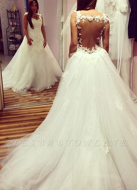 Glamorous Sexy Mermaid Wedding Dresses | Backless Lace Appliques With Detachable Train
