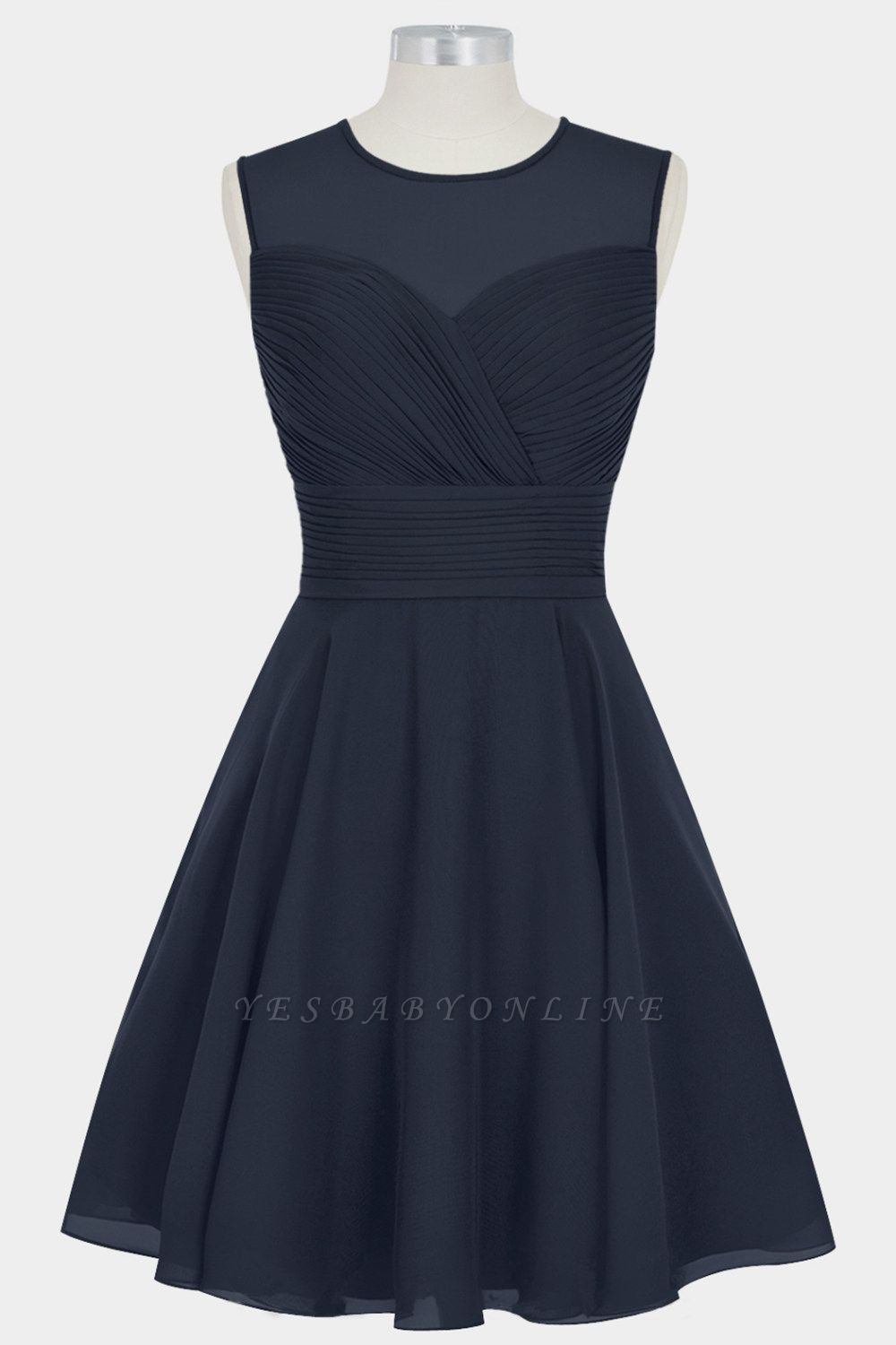 A Line Chiffon Round Neck Sleeveless Bridesmaid Dresses with Ruffles