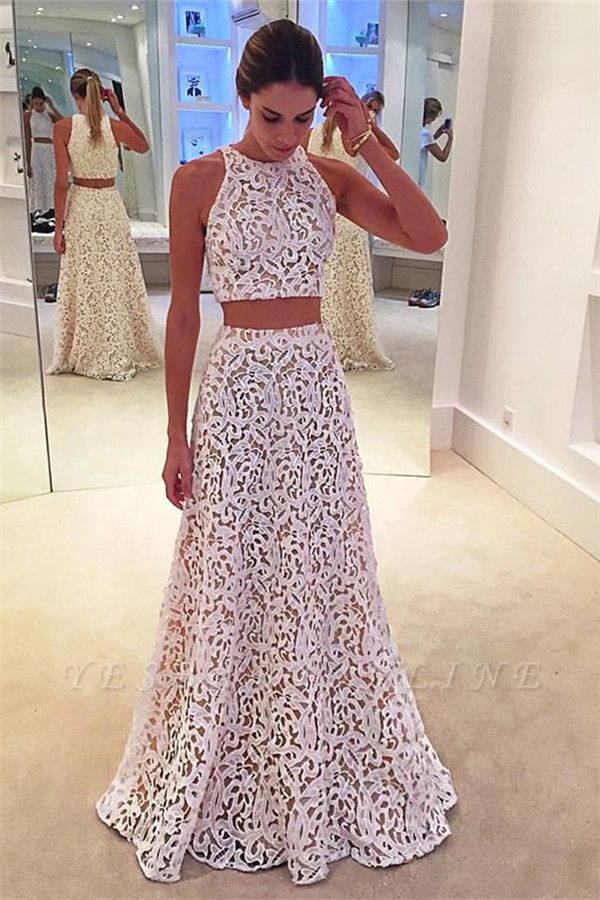 Two-Pieces A-line Simple Sleeveless White Lace Prom Dress