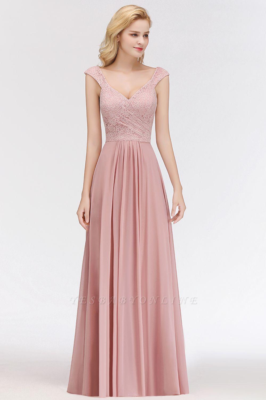 Elegant A-Line Chiffon Bridesmaid Dresses | V-Neck Cap Sleeves Lace Wedding Party Dresses