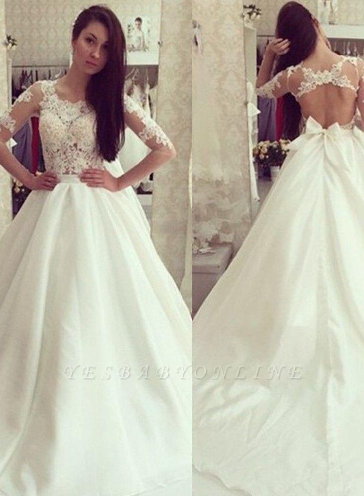 Sweep Train Half-sleeves Bow Sweep Train Glamorous A-line Wedding Dress