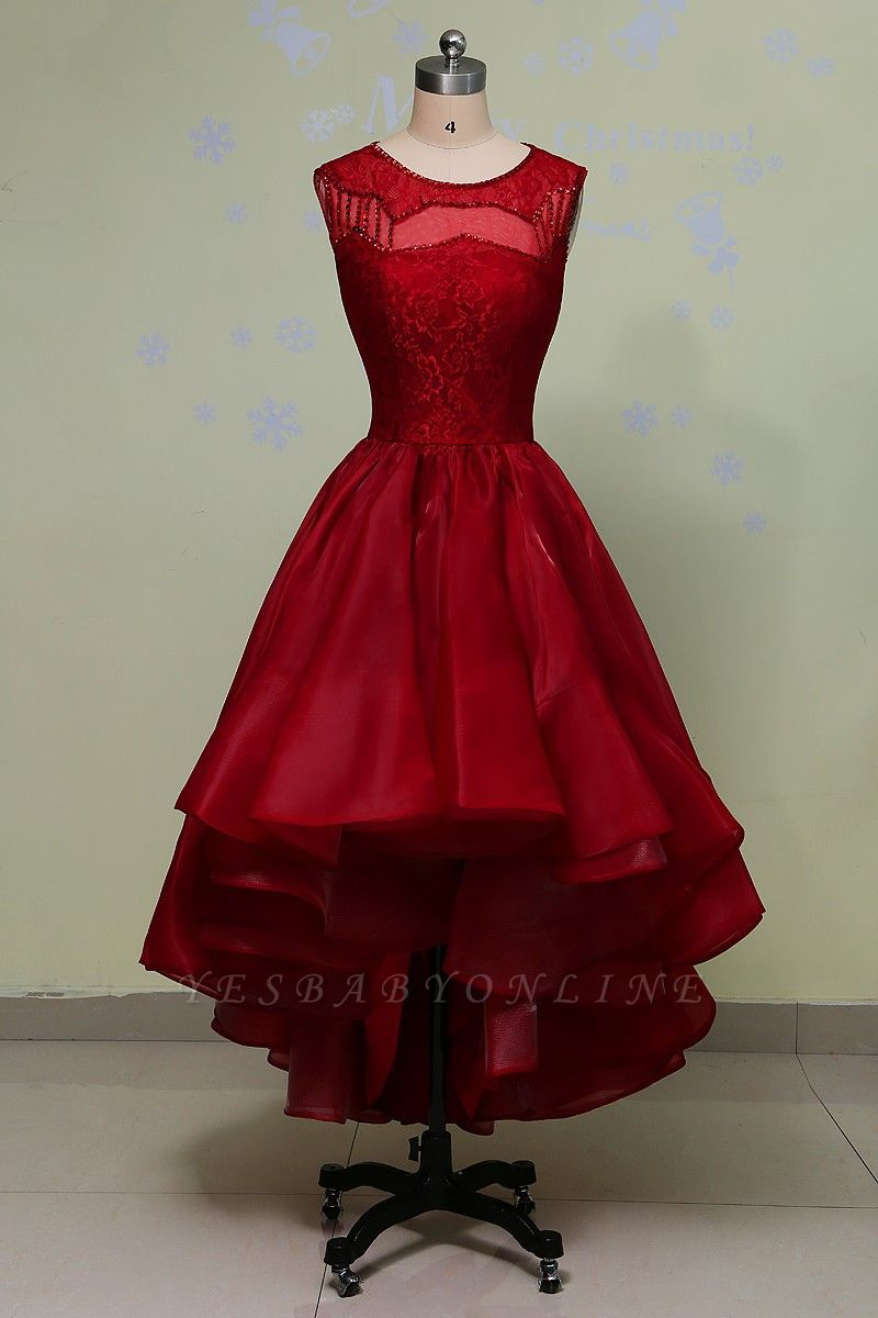 Hi-Lo Sleeveless Glamorous Red Lace Sequins Prom Dress