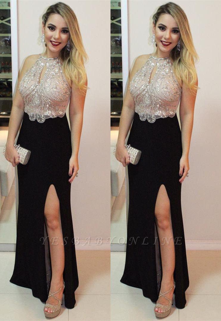 Delicate Halter Beading Sleeveless Front-Split Prom Dress