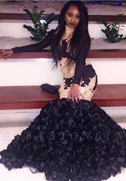 Glamorous Mermaid Black Prom Dresses | Long Sleeves Black Evening Dresses