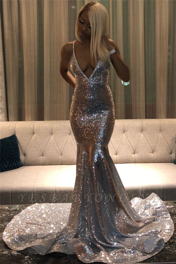 Silver Spaghetti Strap Deep V Neck Sequined Mermaid Prom Dresses | Fitted And Flare Evening Gown