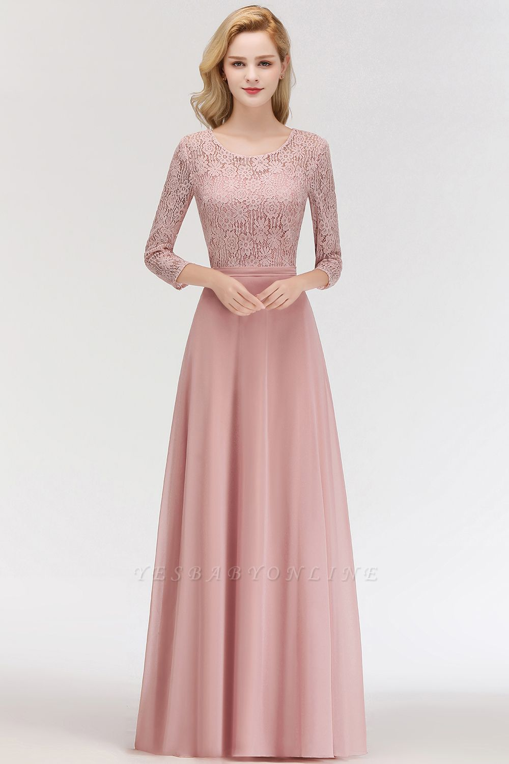 Simple Chiffon A-Line Bridesmaid Dresses | Scoop 3/4 Sleeves Lace Formal Prom Dresses