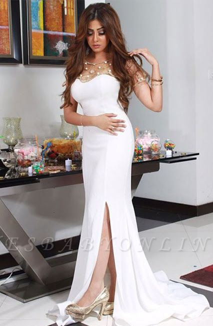 Beadings Glamorous Split  White Sexy Mermaid Evening Dress