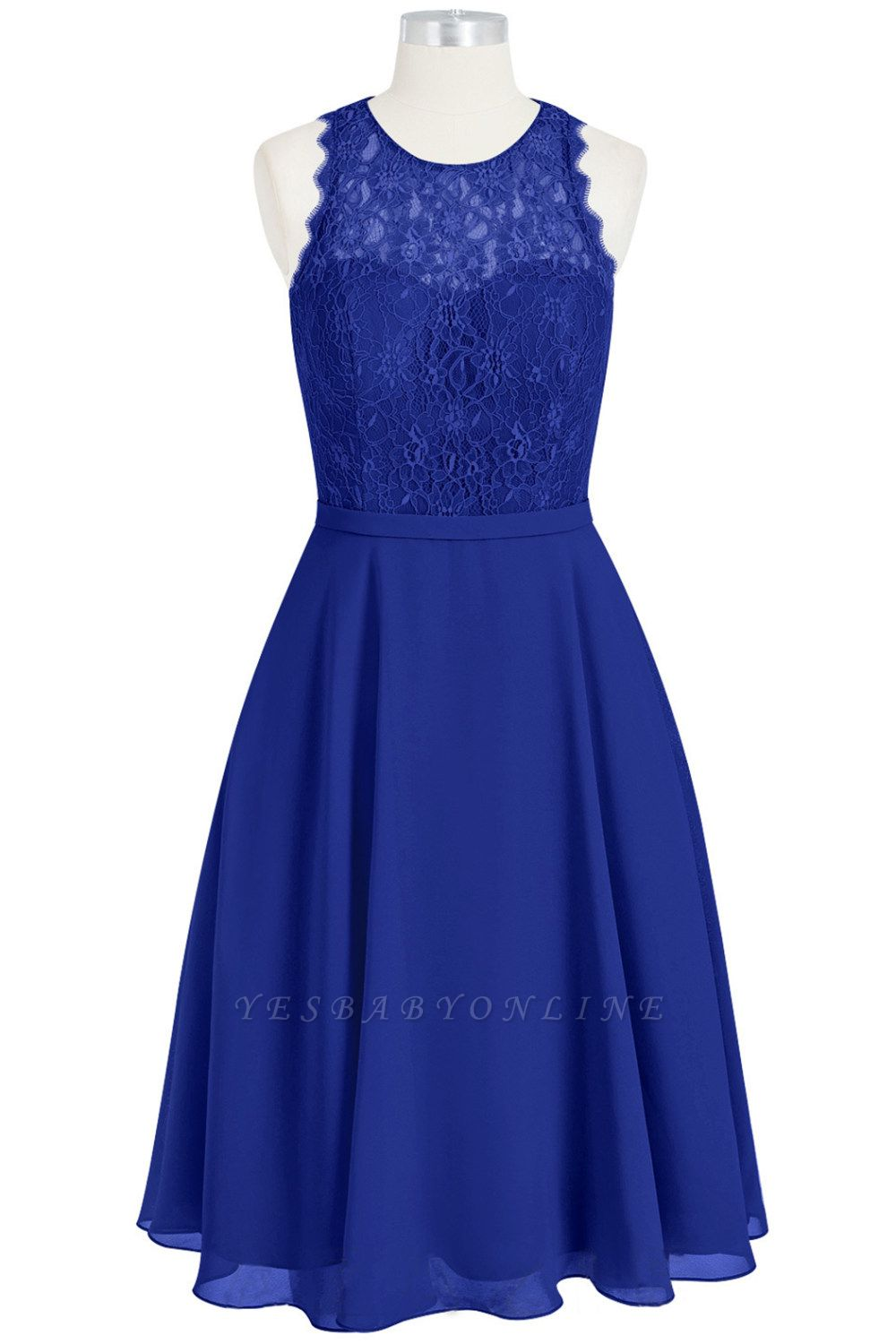 A Line Chiffon Lace Round Neck Open Back Bridesmaid Dresses