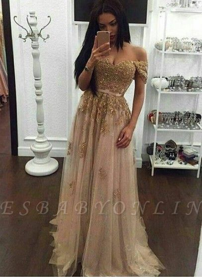 Off-the-Shoulder Prom Dresses Gold Appliques Long Sexy A-line Evening Gowns