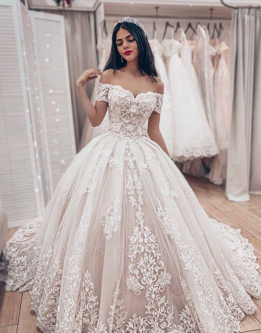 Princess Off The Shoulder Tulle Lace Appliques A-Line Wedding Dresses