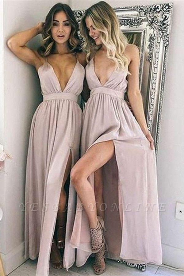 Sexy Simple V-Neck Evening Dresses   Side Slit Floor Length Cheap Party Dresses