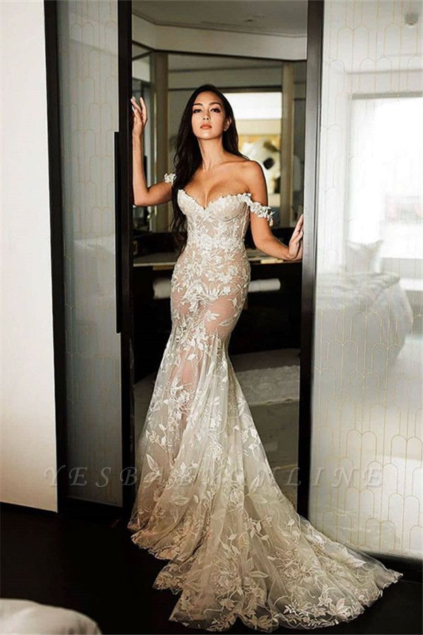 Sexy Off The Shoulder Sweetheart Lace Mermaid Wedding Dresses