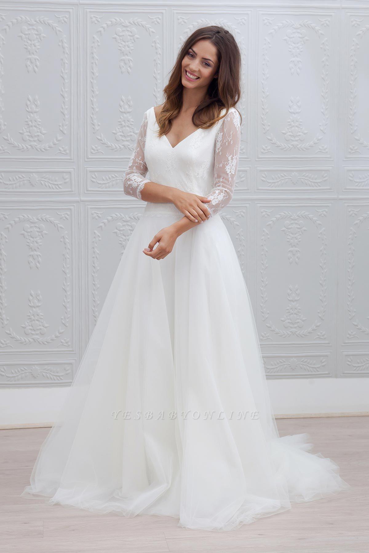 Elegant V-neck Sweep Train Backless A-line Wedding Dress