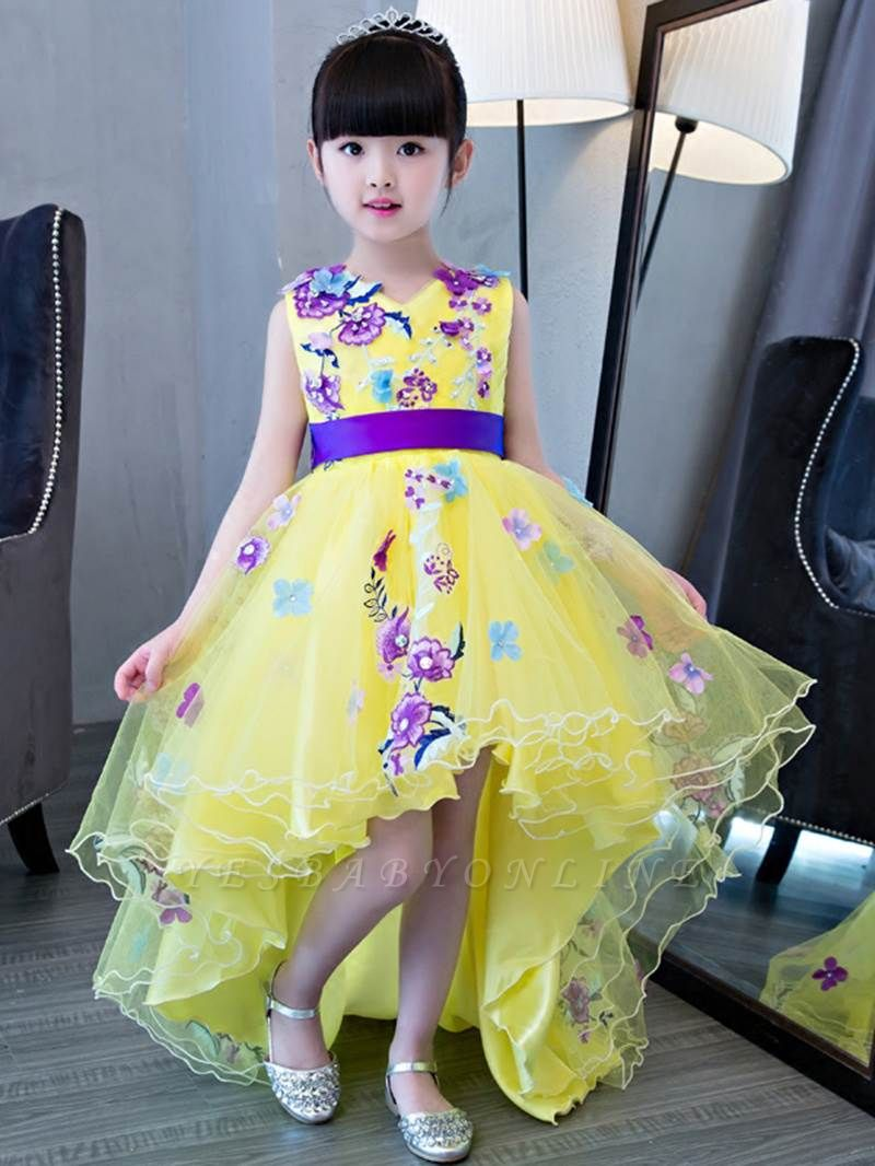 Cute A-Line Hi-Lo V-Neck Appliques Flower Girl Dress with Embroidery