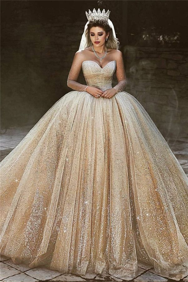 Charming Sparkling Gold Wedding Dresses | Sequined Princess Royal Bridal Dresses