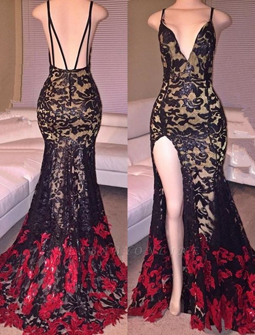 Mermaid Side-Slit Lace Black Spaghettis-Straps Red Prom Dresses