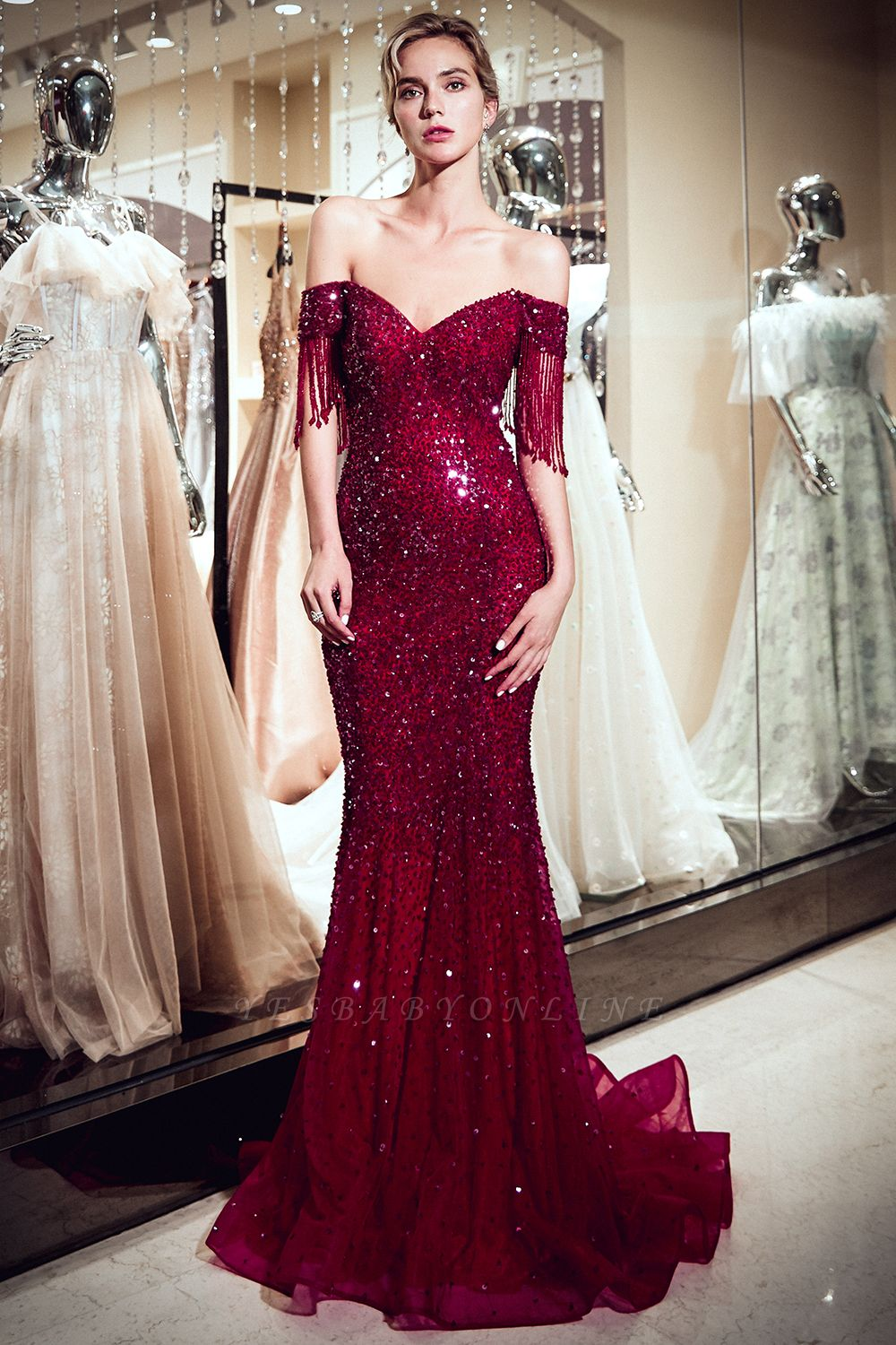 Sparkly Burgundy Crystal Off-the-Shoulder Prom Dress | 2019 Mermaid Evening Dress with Tassels