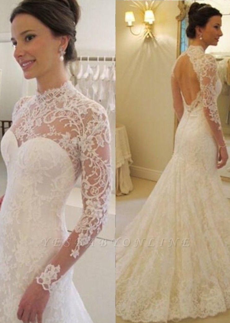 Mermaid Long Sleevess Lace Glamorous Sweep Train Backless Wedding Dress