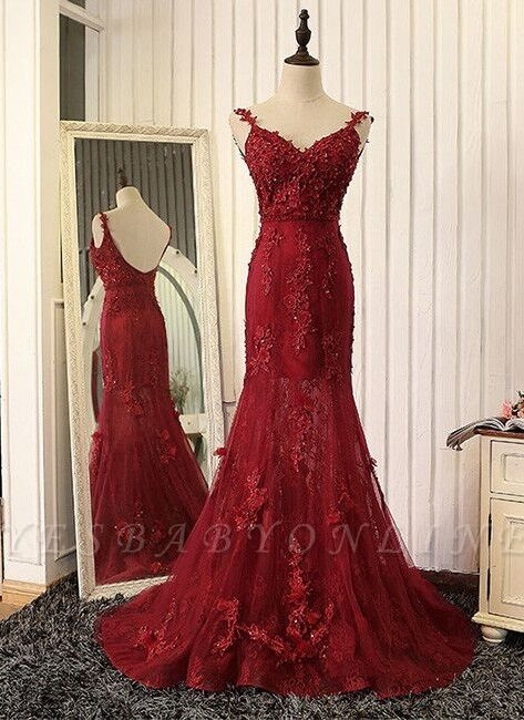 2019 Burgundy Mermaid Prom Dresses Straps Lace Appliques Open Back Evening Gowns