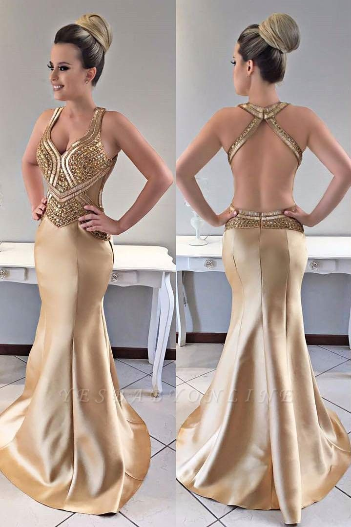 Mermaid Modern Crystals Straps Gold Prom Dress