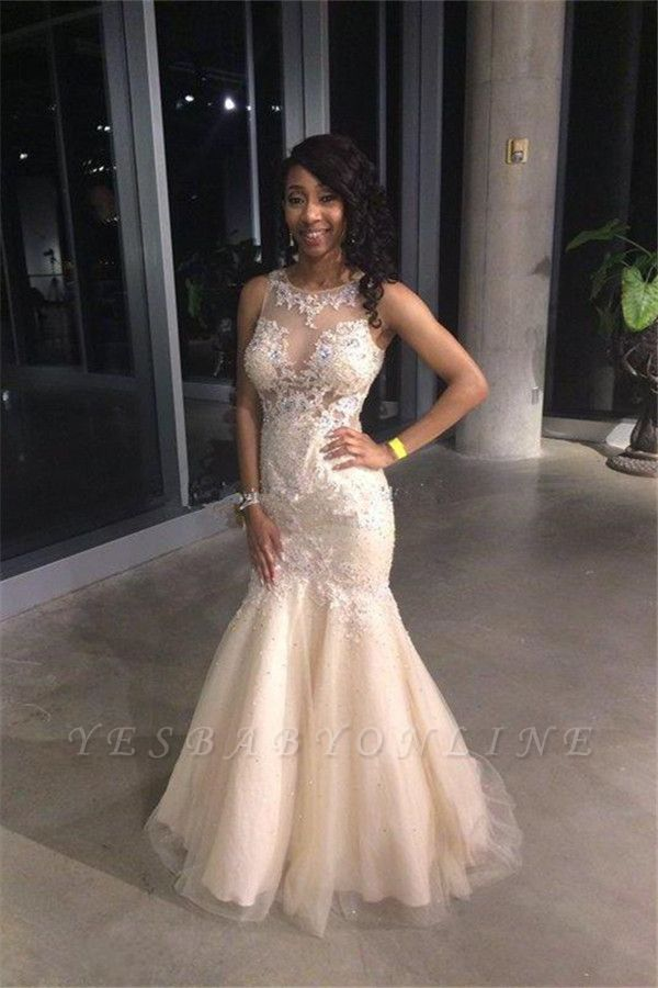 2019 Gorgeous Sexy Mermaid Prom Dresses Sleeveless Lace Appliques Appliques Evening Gowns