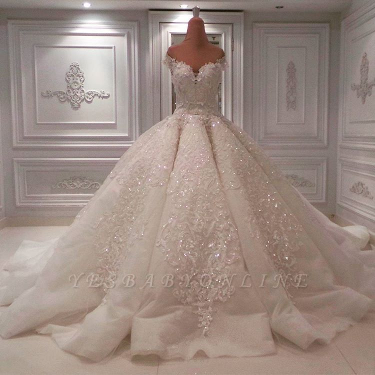 Gorgeous Off The Shoulder Sweetheart Applique Beaded Ball Gown Wedding Dresses