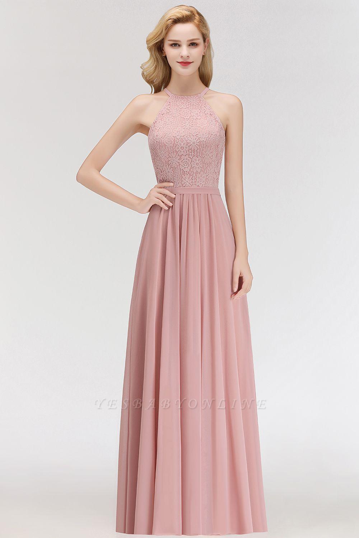 Elegant A-Line Chiffon Bridesmaid Dresses | Halter Lace Wedding Party Dresses
