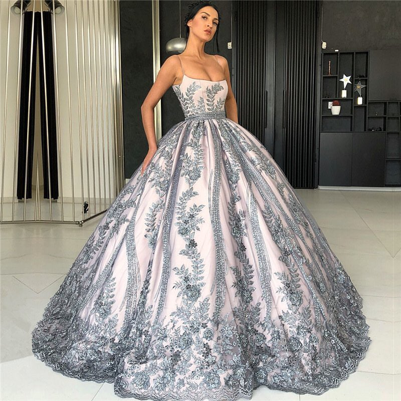 Spaghetti Straps Lace Appliques Evening Dresses Luxury Princess Ball Gown Prom Dress 2019 Yesbabyonline Com