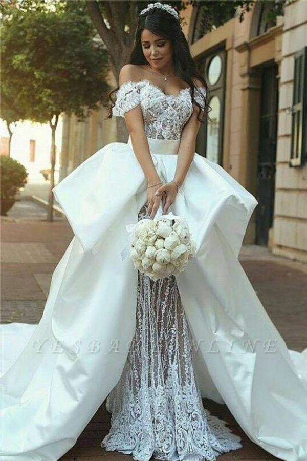 Sexy Off The Shoulder V Neck Lace Sheath Detachable Skirt Wedding Dress